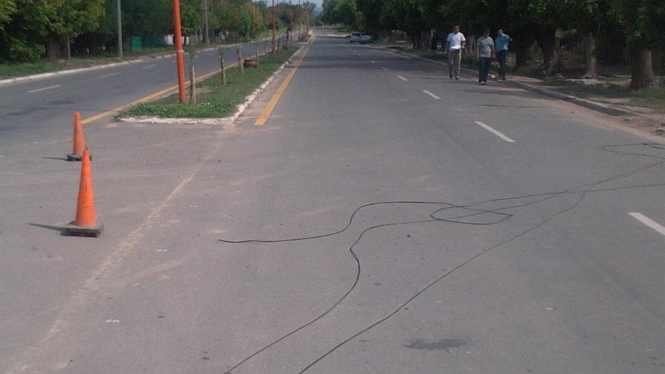 Escenario. Los cables cortados en el lugar del fatal incidente (La Voz).