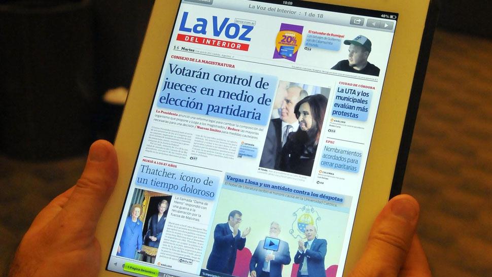 Edición impresa. El diario se puede hojear igual que en papel.