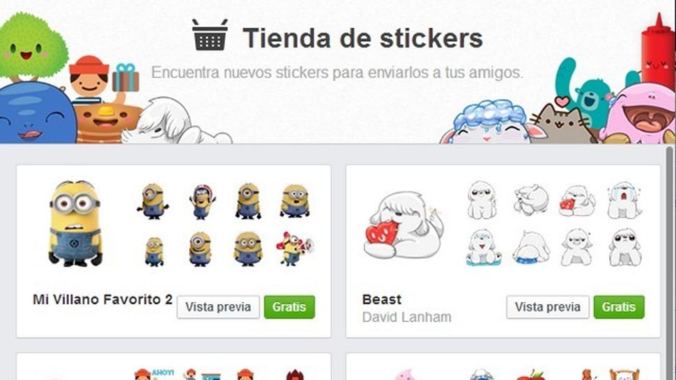 """STICKERS. Podrán ser usados en la versión """"desktop"""" del Facebook."""