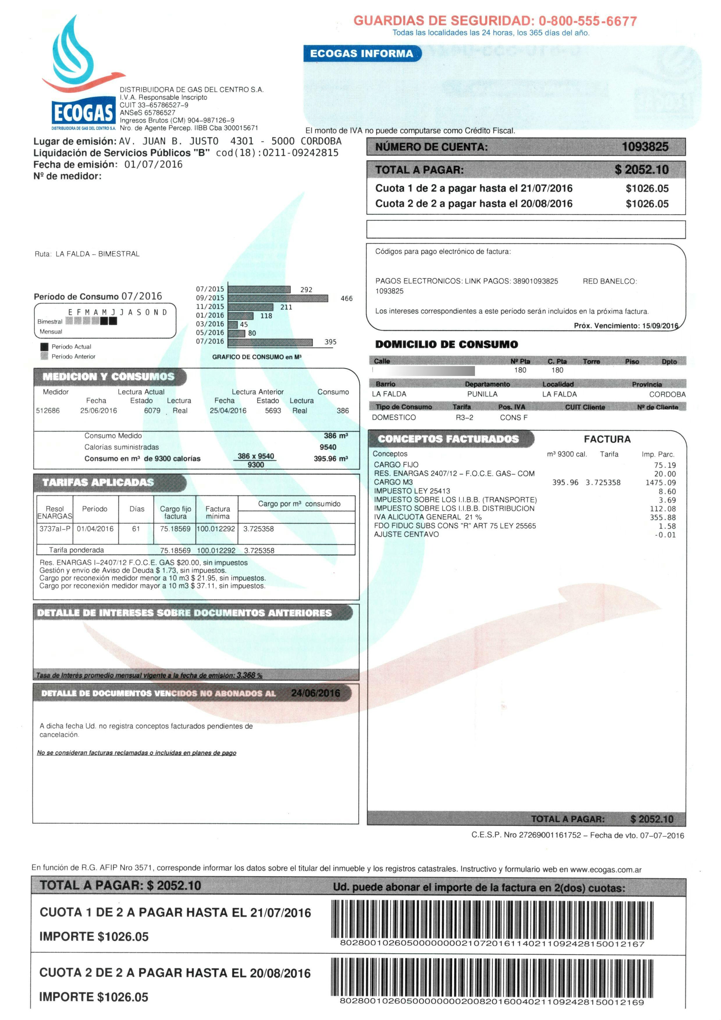 así son las nuevas facturas de ecogas con pago desdoblado