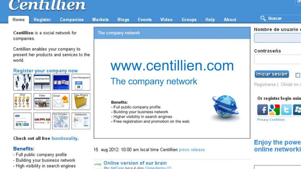 RED SOCIAL. Centillien apunta a un mercado específico, el de mas empresas (Captura Web).