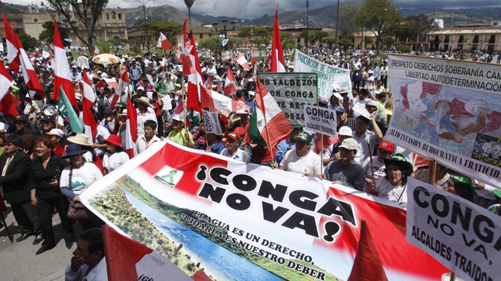 Oposición. Distintas organizaciones se resisten a la contaminación que generaría el proyecto Conga (AP).