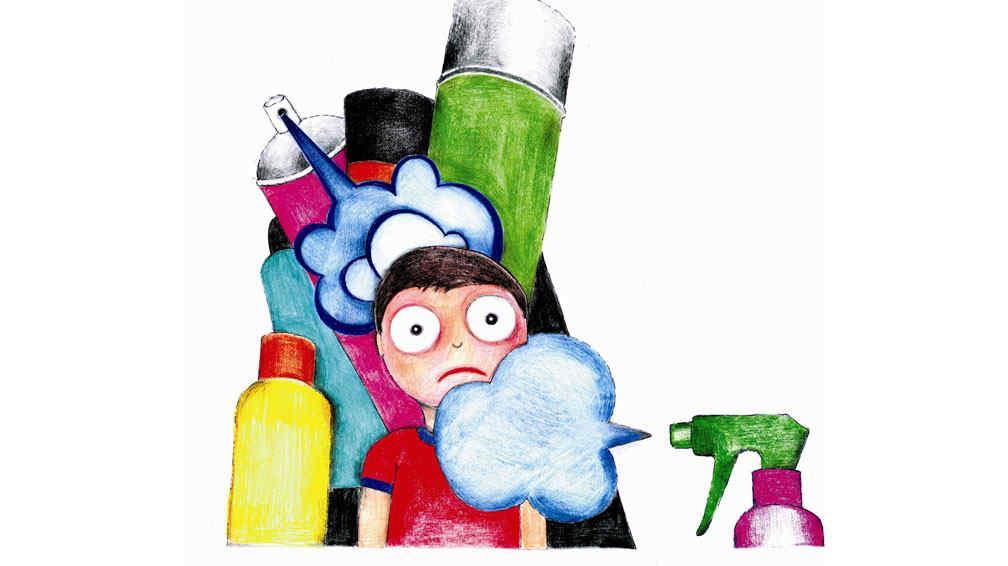 PLAGUICIDAS DOMÉSTICOS. Tóxicos en el hogar (Ilustración Gustavo Dagnino).