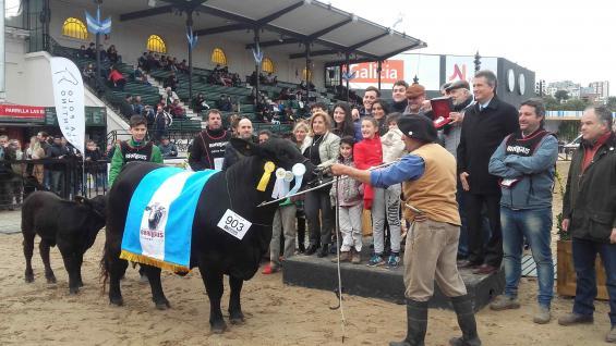 La familia Groppo, en pleno, recibe el premio por la mejor hembra de la raza Brangus. (La Voz)