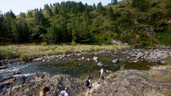 Tramo a pie. En uno de los recorridos, el guía invita a una caminata desde donde asoma la unión de El Durazno y el río El Manzano. (La Voz)