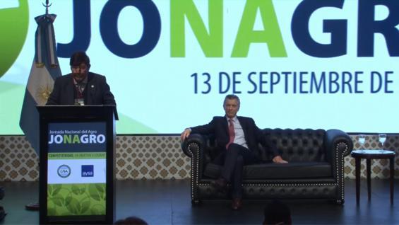 CHIESA. El presidente de CRA abrió la Jonagro 2018, junto a Macri. (Prensa CRA)