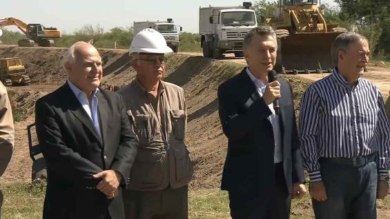 MACRI. El presidente inauguró el inicio de las obras en el Canal San Antonio (Casa Rosada)