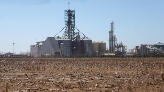 LEJOS. En Río Cuarto, el lote con rastrojo de maíz volverá a recibir al cereal en la actual campaña. Su producción se convertirá en bioetanol, en la planta ubicada al fondo. (LA VOZ)