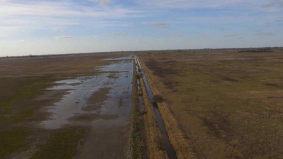 ANEGADOS. Así están muchos campos al norte del departamento San Martín, en el límite con Unión.