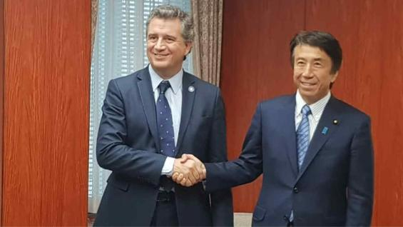 ETCHEVEHERE. El ministro de Agroindustria junto a su par de Japón (Prensa Agroindustria)