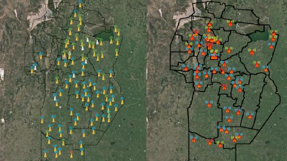 LLUVIAS. Las redes de estaciones meteorológicas de la Bolsa de Cereales y el Ministerio de Agricultura muestran que el agua se concentró en el sur provincial.