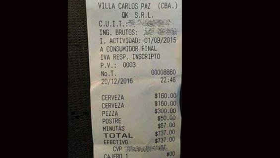 FOTO. El ticket que se viralizó con el consumo en Carlos Paz.