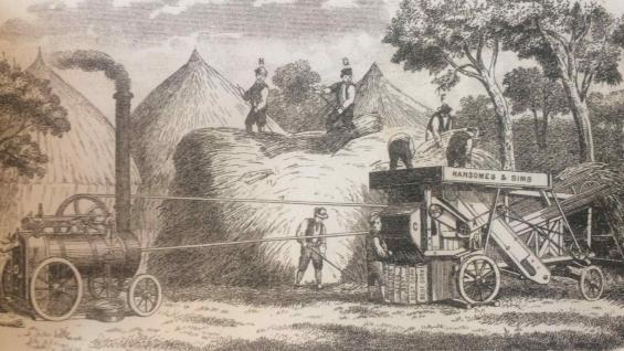 ILUSTRACIÓN. No hay imágenes de esa época, pero sí ilustraciones: en este caso, de una trilladora. (Libro Argentina 200 años. Postales de la independecia 1816-2016)