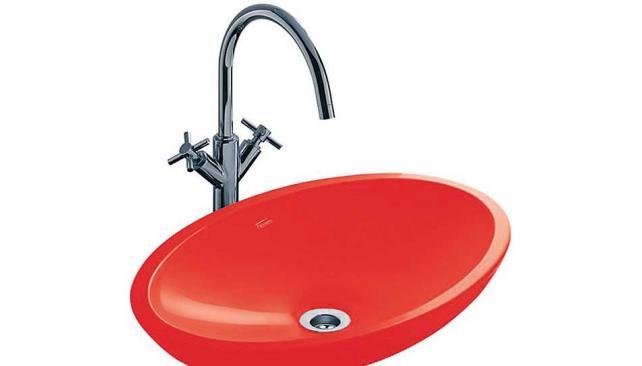 Bachas Para Baño Ovaladas:Citera Esta bacha de apoyar de Ferrum aporta color al baño con sus