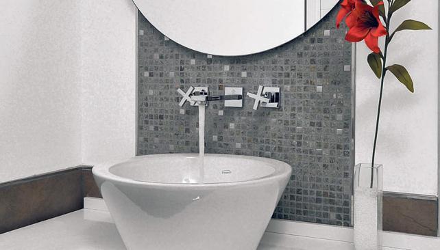 Guarda Aluminio Baño:Ancha guarda de pequeñas piezas de piedras naturales, entremezcladas