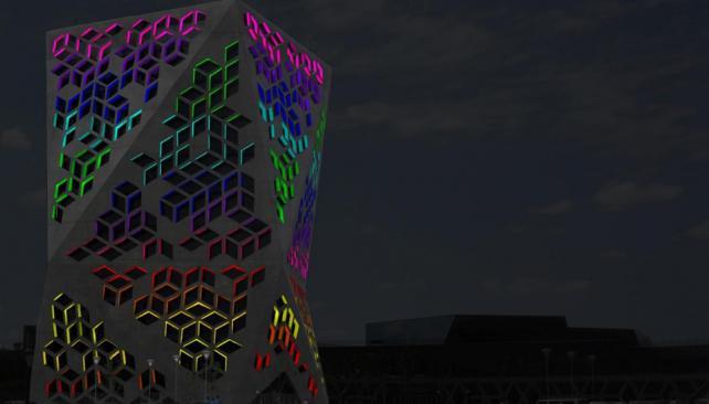 CENTRO CÍVICO. Así podría quedar una de las escenas lumínicas. Se realizará una diferente por noche en cada edificio cultural (Prensa Gobierno de Córdoba).