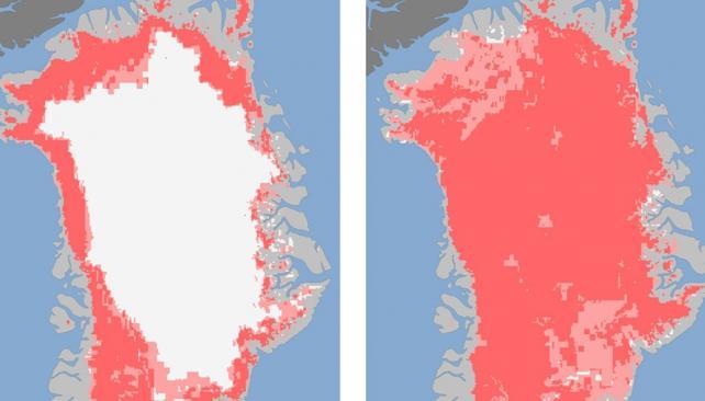 GROENLANDIA. En la imagen de la izquierda (el 8 de julio) se nota la capa de hielo, mientras que a la derecha (el 12 de julio) no se ve (AP).
