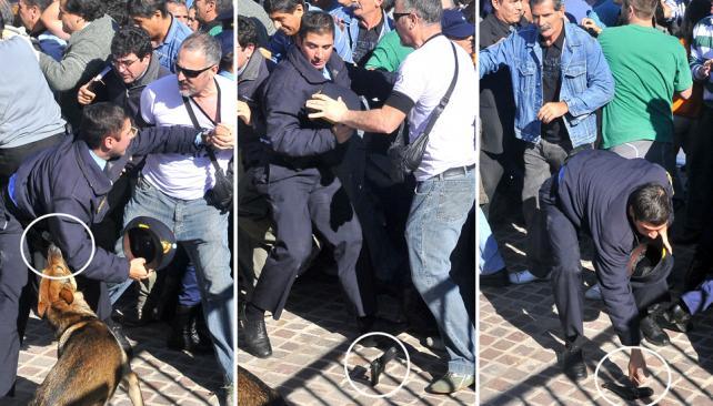 Un perro dejó a un policía sin arma en la marcha de los docentes (Raimundo Viñuelas/LaVoz).