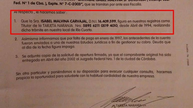 INFORME. De Tarjeta Naranja al mencionar a la Justicia federal que ya había una tarjeta sacada a nombre de Isabel Malvina Carvajal, según figura en el expediente.