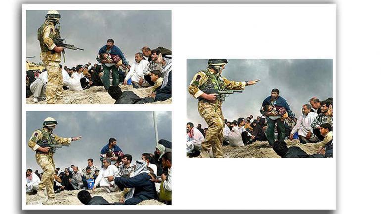 Trucos. La fotografía, tomada durante los primeros días de la invasión de Irak, muestra a un soldado británico que advierte a un grupo de civiles iraquíes de que se cubran de un incendio cercano. Se publicó por primera vez en Los Angeles Times. Pero la