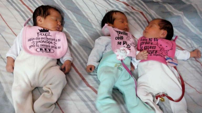 Luana, Keyla y Emma, las trillizas que nacieron en Córdoba el día de los enamorados.
