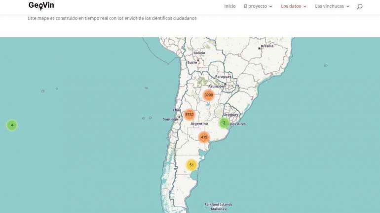 MAPA. La aplicación brinda el acceso a un mapa de datos que ya identifica casi 10 mil puntos del país donde alguna vez se encontraron especies de vinchucas. (Gentileza TN)