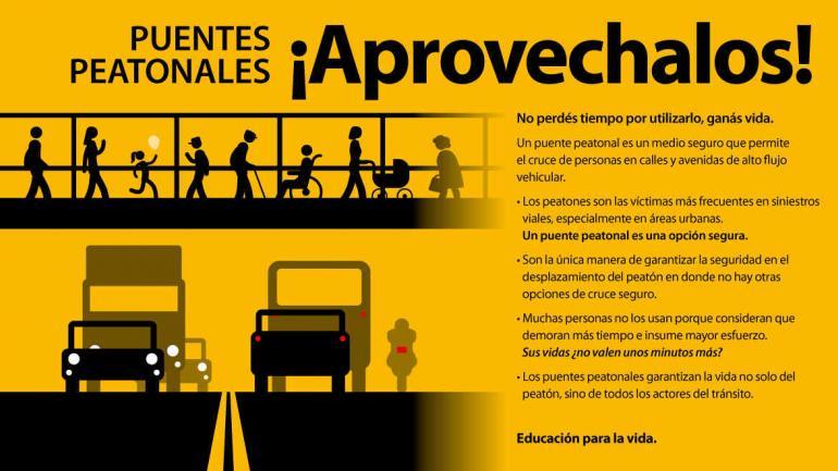 """LAC promueve el uso de puentes peatonales en el marco de su programa """"Educación para la Vida"""" (LAC)."""