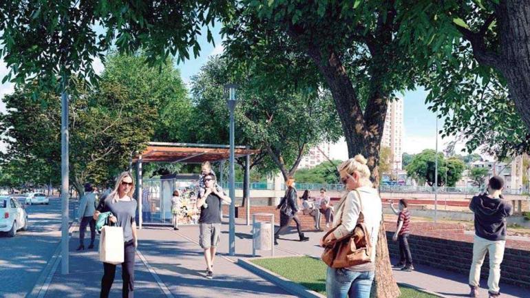La propuesta. Una zona con veredas muy anchas para caminantes y con la idea de generar un paseo, equipado con quioscos y puestos de comida.