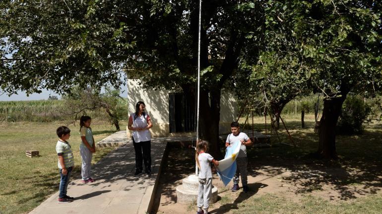 Escuela Víctor Andrade. En Cosme, alguna vez hubo 120 alumnos en el centro educativo. Hoy quedan apenas cinco. (Ramiro Pereyra)