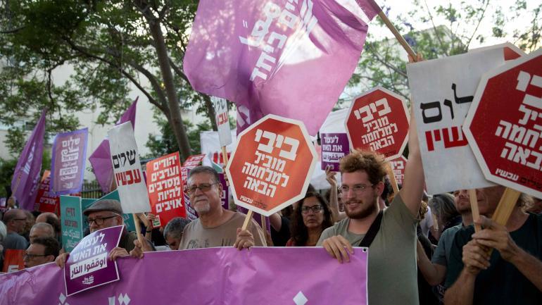 En Tel Aviv. Sectores de izquierda, a favor de los palestinos. (AP)