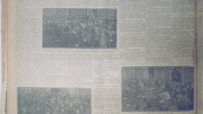 Crónicas calientes. Cada día, durante los meses intensos de 1918, La Voz del Interior publicó extensas crónicas que daban cuenta de los acontecimientos en el camino a la Reforma.