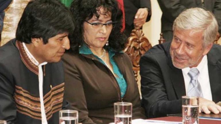Evo Morales y Gerardo Ferreyra, de Electroingeniería.