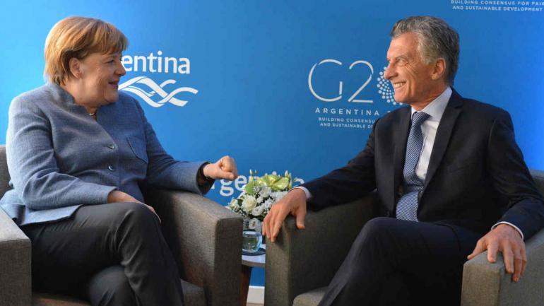 MACRI Y MERKEL. En Davos (Presidencia de la Nación).