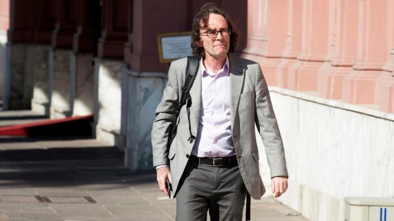 Silencio. El ministro Osvaldo Giordano participó de la reunión en la Casa Rosada, pero luego no habló, en medio de la negociación. (Gentileza Clarín)