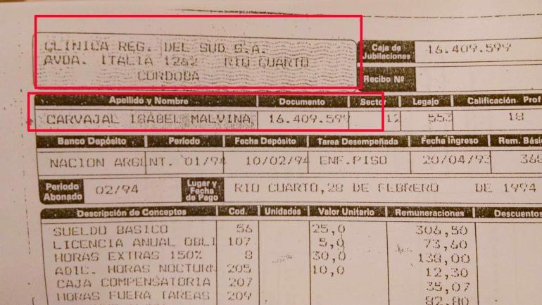 RECIBO. De sueldo de Isabel Malvina Carvajal en Río Cuarto, según consta en el expediente.