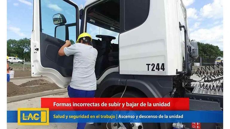 LAC. Formas incorrectas de subir a la cabina de un camión. (LAC)