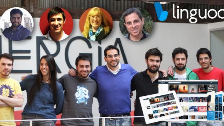 LINGUOO. Emanuel Vilte Ferrero (centro) y el equipo de la empresa.