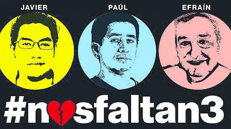 """En las redes. El """"hashtag"""" #nosfaltan3 inundó el espacio virtual."""