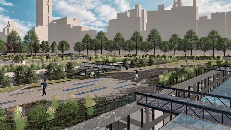Gastronomía. El mercado subterráneo combinaría locales interiores con espacios al aire libre.
