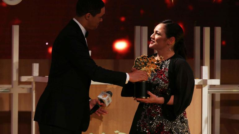 Zafirakou. Durante la entrega de premios. (AP)