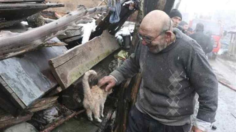 LA IMAGEN VIRAL. Ali Meşe junto a su gata después del incendio. (Clarín.com)