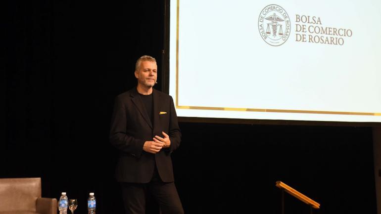 ANDY STALMAN. El experto en branding, en la Bolsa de Comercio de Rosario (Prensa BCR)