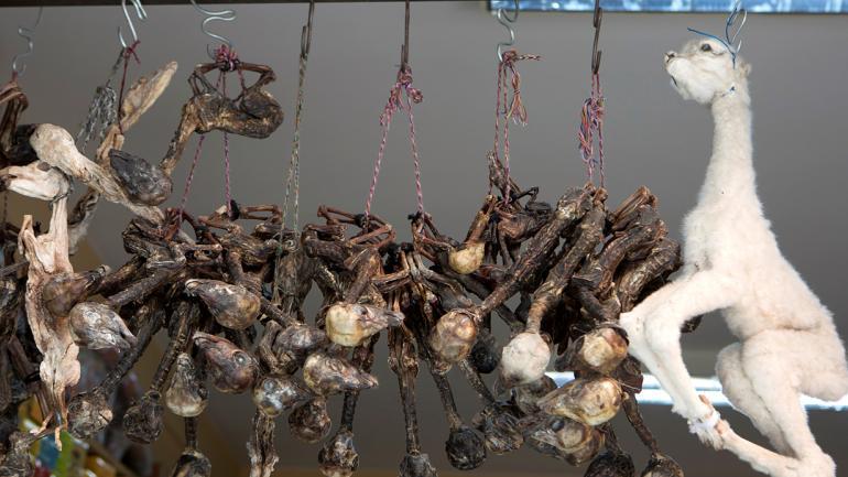 Fetos de llama cuelgan en el mercado de brujas, se usan como ofrenda a la Madre Tierra. (AP Foto/Juan Karita)