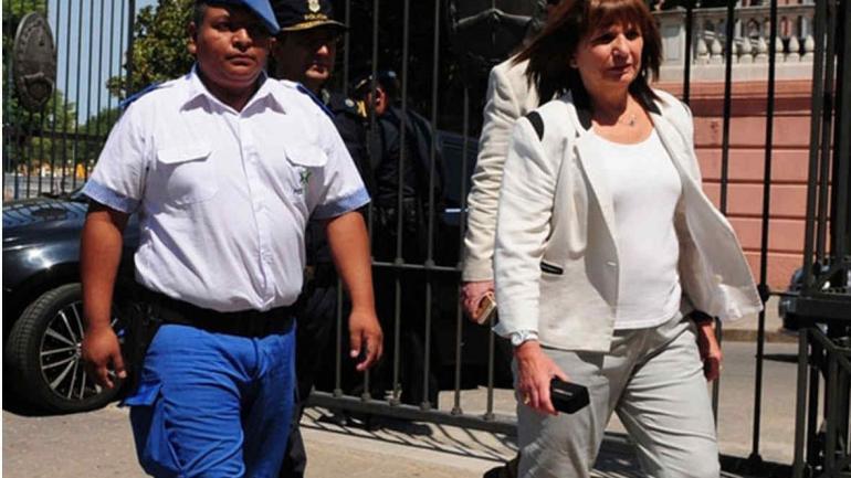 Chocobar. La ministra Bullrich apoyó públicamente al policía. (Télam)