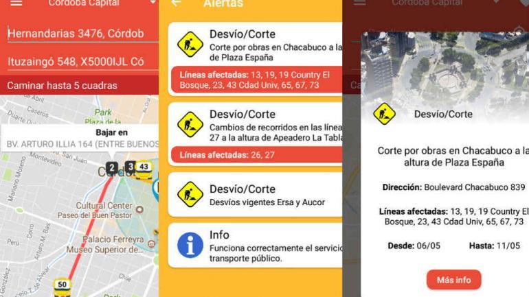 Parte de la información que brinda MiAutobus a los usuarios.