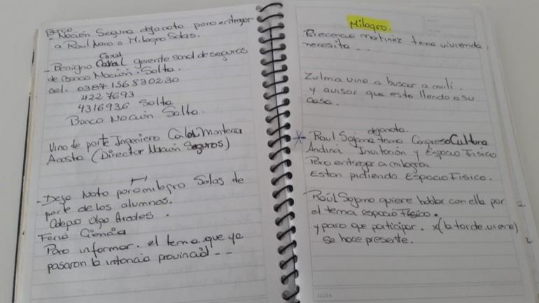 Uno de los cuadernos que entregó el testigo protegido (Foto: Clarín).