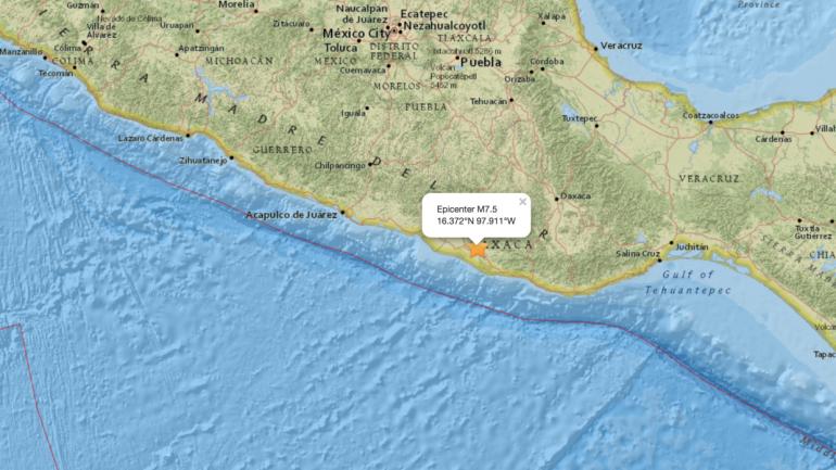 SISMO. El epicentro estuvo a 8 kilómetros al noreste de Pinotepa Nacional, en el estado de Oaxaca. (Servicio Geológico de Estados Unidos)