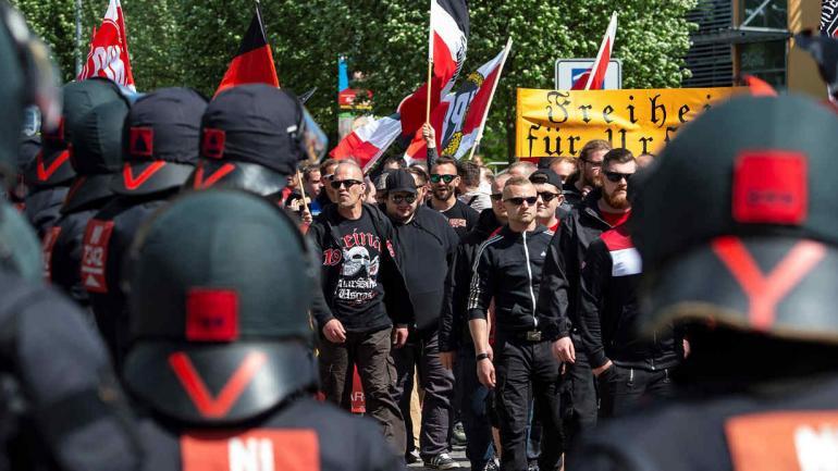 La marcha de la ultraderecha en Erfurt, capital de Turinga, Alemania. (AP)