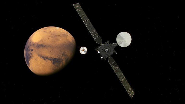 ÉXITO. El satélite TGO logró ubicarse en su órbita para estudiar la presencia de metano en Marte. (AP)