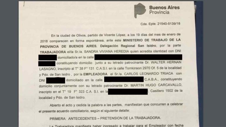 Copia del expediente del acuerdo entre Carlos Triaca y la empleada doméstica Sandra Heredia.